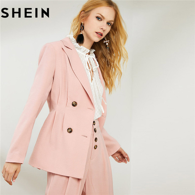 e0881c69c9 SHEIN Pink Notch Collar Blazer With Wide Leg Pants Womens Two Piece Outfits  Elegant Double Breasted