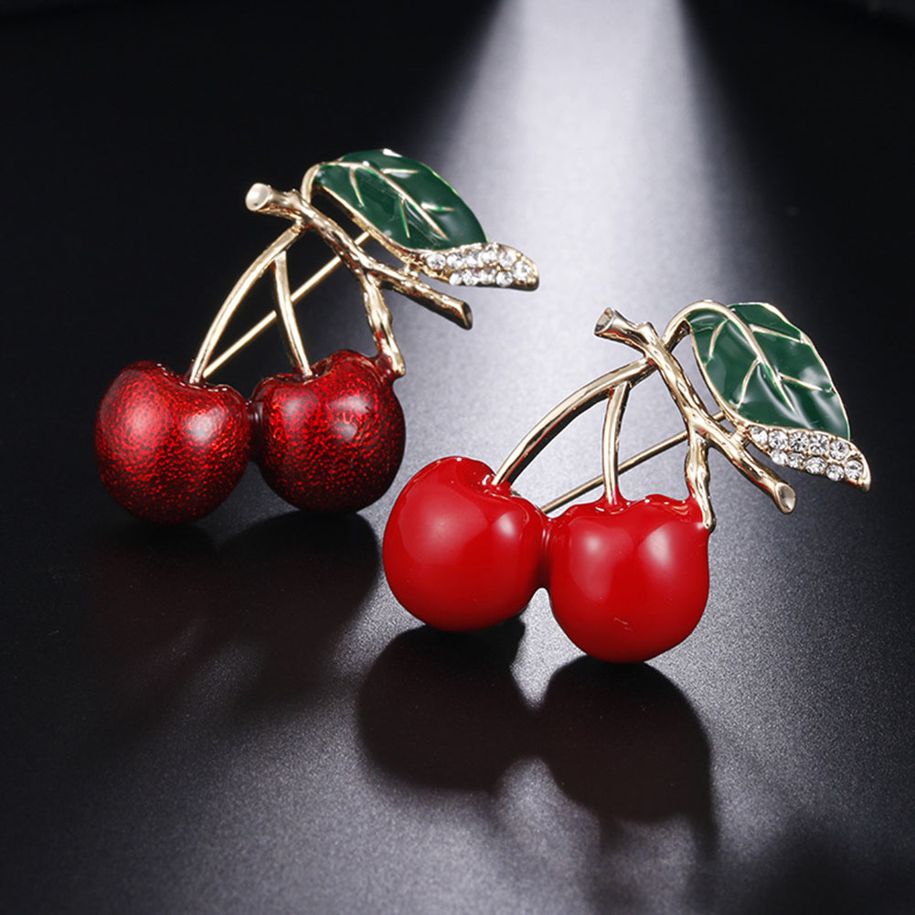 Fashion New Lovely Green Leaves Cherry Brooch Red Drop Oil Corsage Daily Wear For Women Gift ...