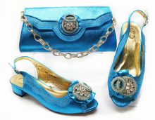 New arrival italian shoes and bag set turquoise blue color lady party low  heel shoes matching bag low heel size 37-42 SB8271-4 deea8e1f4d51