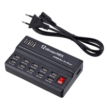USB chargeur électrique 12 ports entrée 110V ~ 240V sortie 5V Max 3.5A prise ue/US pour téléphone portable tablette PC autres appareils de charge