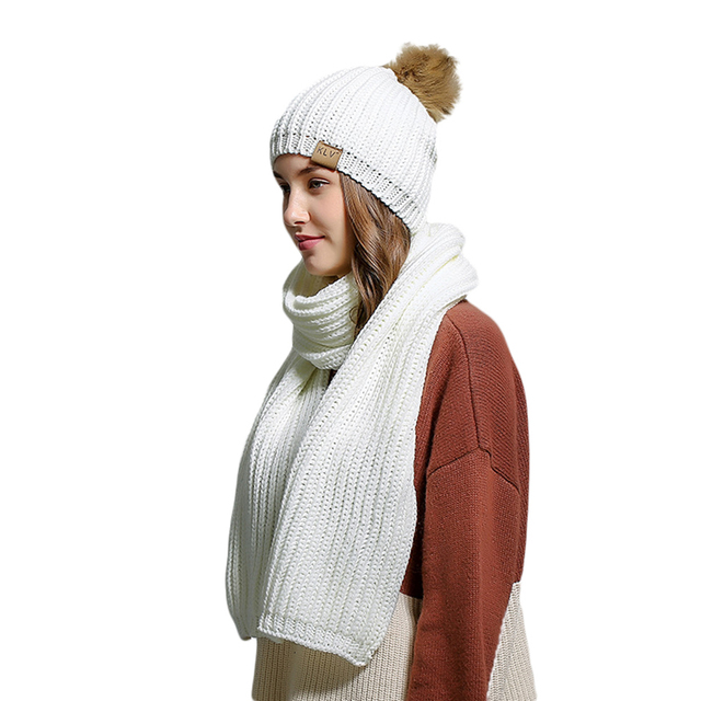 Frauen Winter Warm Einfarbige Bobble Pom Pom Hut + Schal Set ...