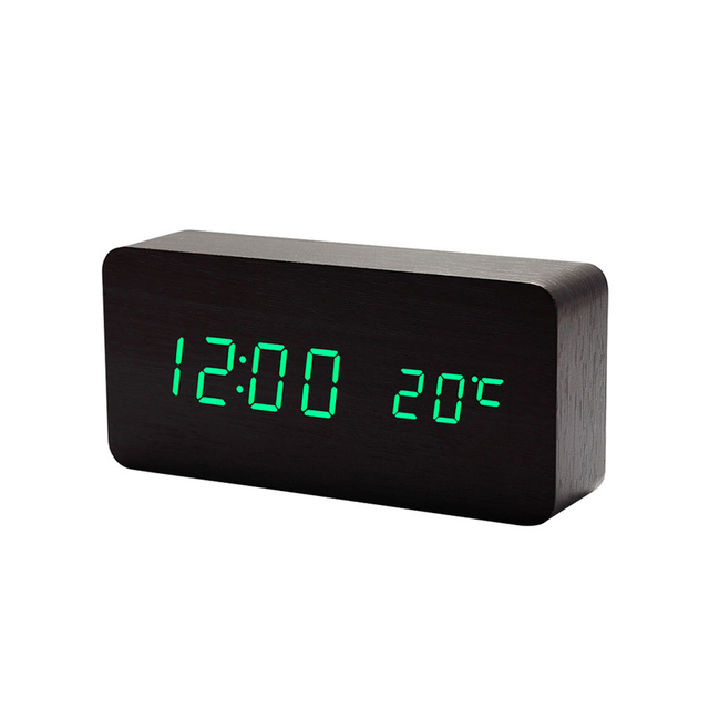 Mrosaa Wood Digital Sound Control Alarm Clock Temperature Three Display Modes Desktop Table clock Electronic Modern Time Clocks