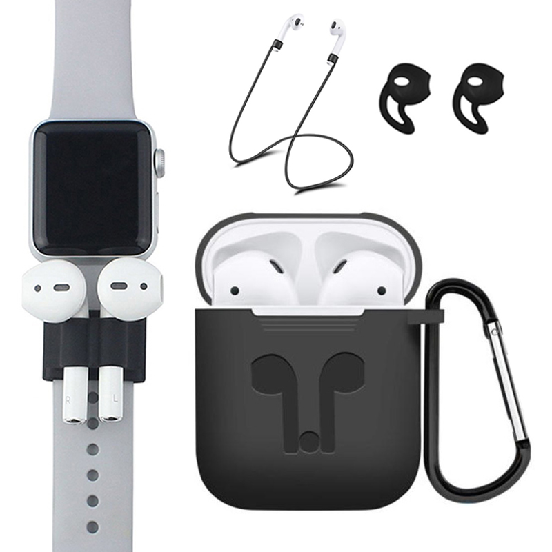 Pack Of 5 Accessories Silicone Case Cover Earphone Pouch Anti Lost Strap Holder Eartips Carabiner Buckle For AirPods I9s I10 Tws