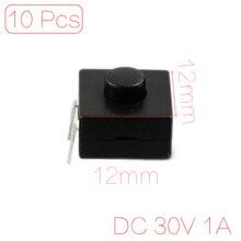 цена на 10 x Flashlight Torch 2 Pin Single Row Latching Push Button Switch DC 30V 1A