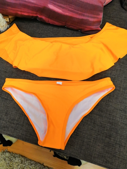 Two-Piece Suits Young girls Ruffled white Orange low waist sexy swimwear bikini Lace women's swimming swimsuit   D021