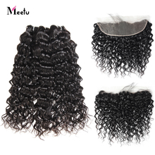 Meetu Malaysian Water Wave Bundles With Frontal Free Part Human Hair Bundles With Frontal Non Remy Lace Frontal With Bundles