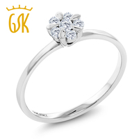 Diamond Ring 18K Solid White Gold 0 156 Cttw White Diamond Flower Blossom Engagement Ring For