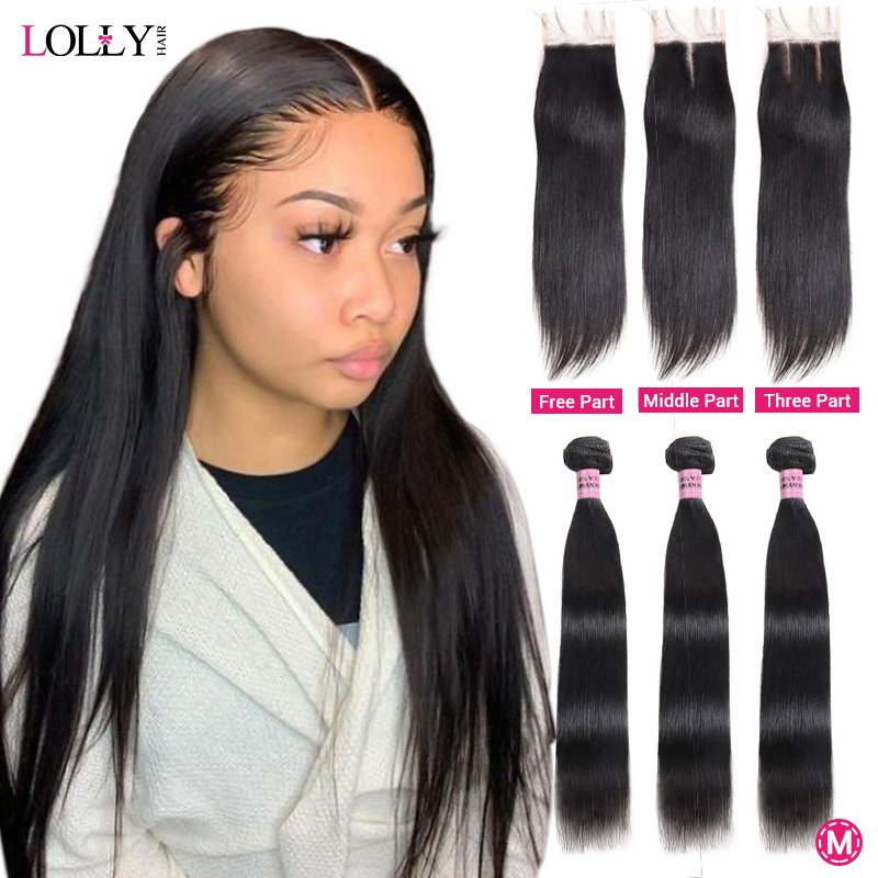 Lolly Straight Hair Bundles With Closure Malaysian Human Hair Bundles With Closure Hair Weave Bundles With Closure Non-Remy