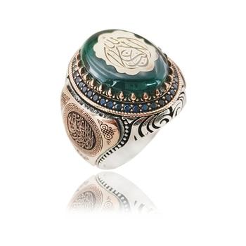Classsic Arabic Men Ring Fashion Jewelry Accessories Muslim Islam Silver Ring Men Rings Arabic Islamic Ring 925 Sterling Silver 925 sterling silver arabic ring personalized custom nameplate thin ring arabic letters name jewlery women fashion