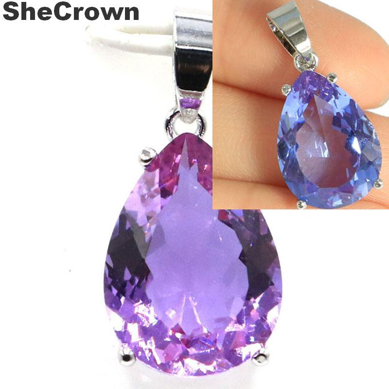 Hot Sell Drop Shape Color Changing Alexandrite & Topaz Woman's Gift Silver Pendant 27x13mm