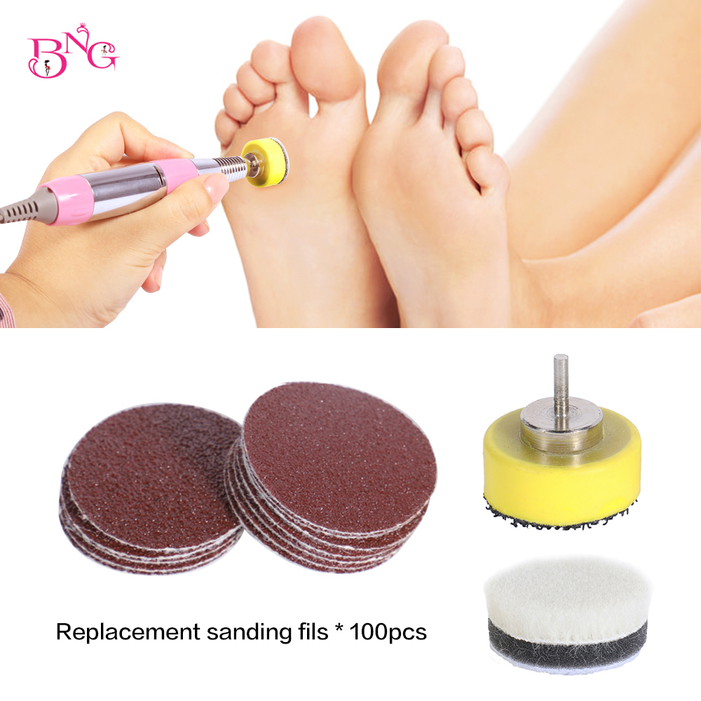 BNG Replacement Sandpaper 80/120/180 Grit 100pcs Callus Hard Dead Skin Remover Grinding Pedicure Tool For Electric Foot File