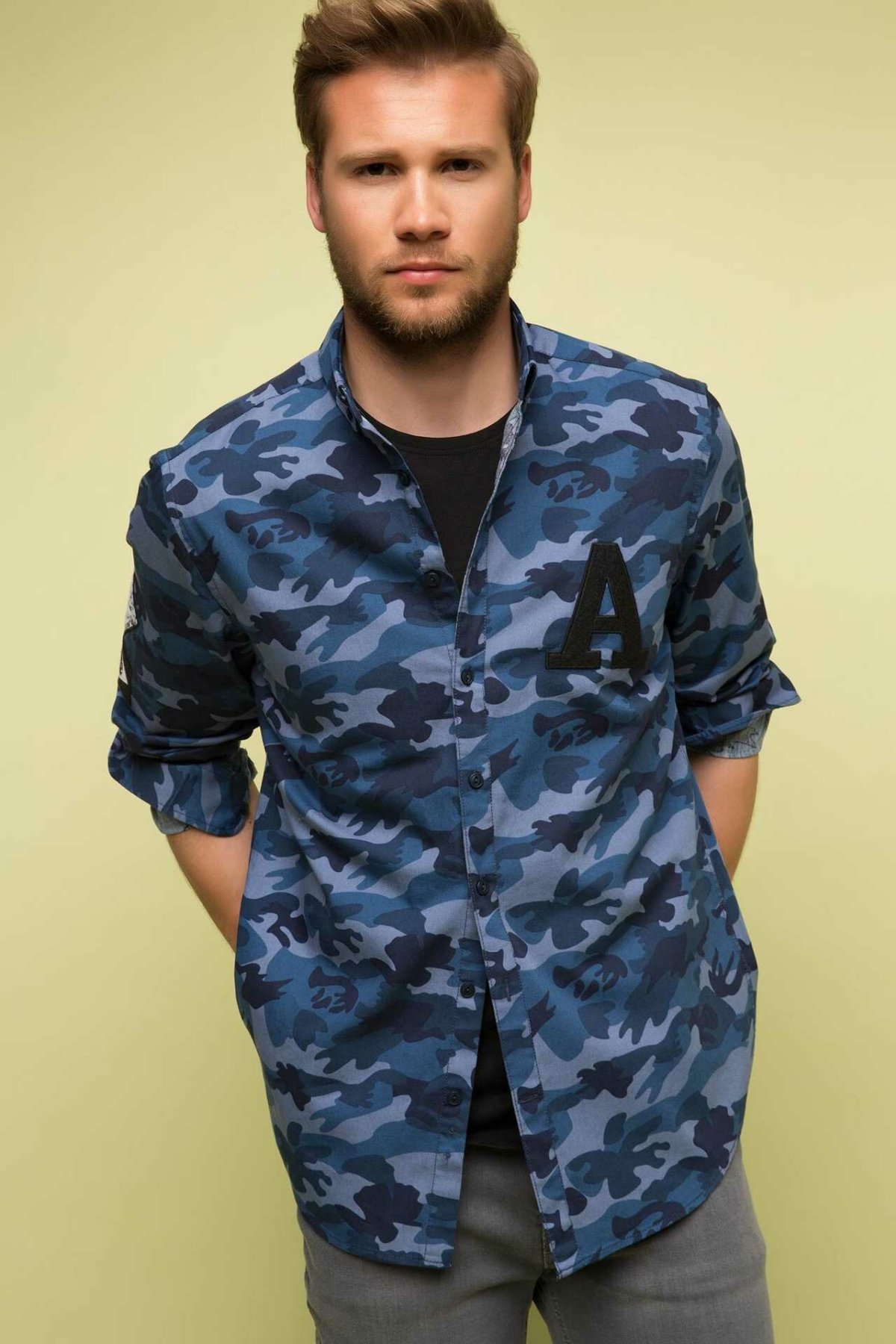 DeFacto Fashion Blue Camouflage Man Long Sleeve Shirt Casual Men Spring Autumn Top Shirts New Arrival-H5658AZ17SP