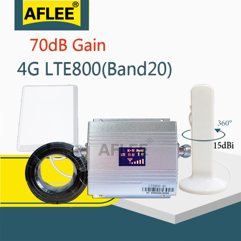 Europe 4G Cellular Amplifier Band20 800Mhz 4G Network Mobile Signal Booster LTE 800Mhz 4G CellPhone Signal Repeater GSM 4G