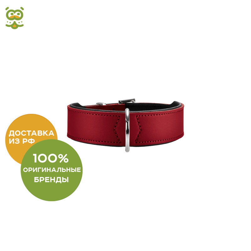 Hunter Basic collar for dogs, 47 - 57 cm., Red collar hunter convenience comfort for dogs 47 55 cm black