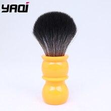 Yaqi pincéis de barbear 26mm, pincéis pretos de cabelo sintético com cabo laranja