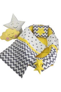 Jaju Baby Gray Zigzag 6 Piece Orthopedic Babynest Set, Baby bed, Pique Comforter set