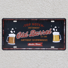 1 pc Whisky Old Barrel Brewhouse Bar Texas Notch  plaques Tin Plates Signs wall man cave Decoration Metal Art Vintage Poster