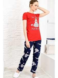 Trend Alacati Style Women Red Printed Pajamas set ALC-X3965