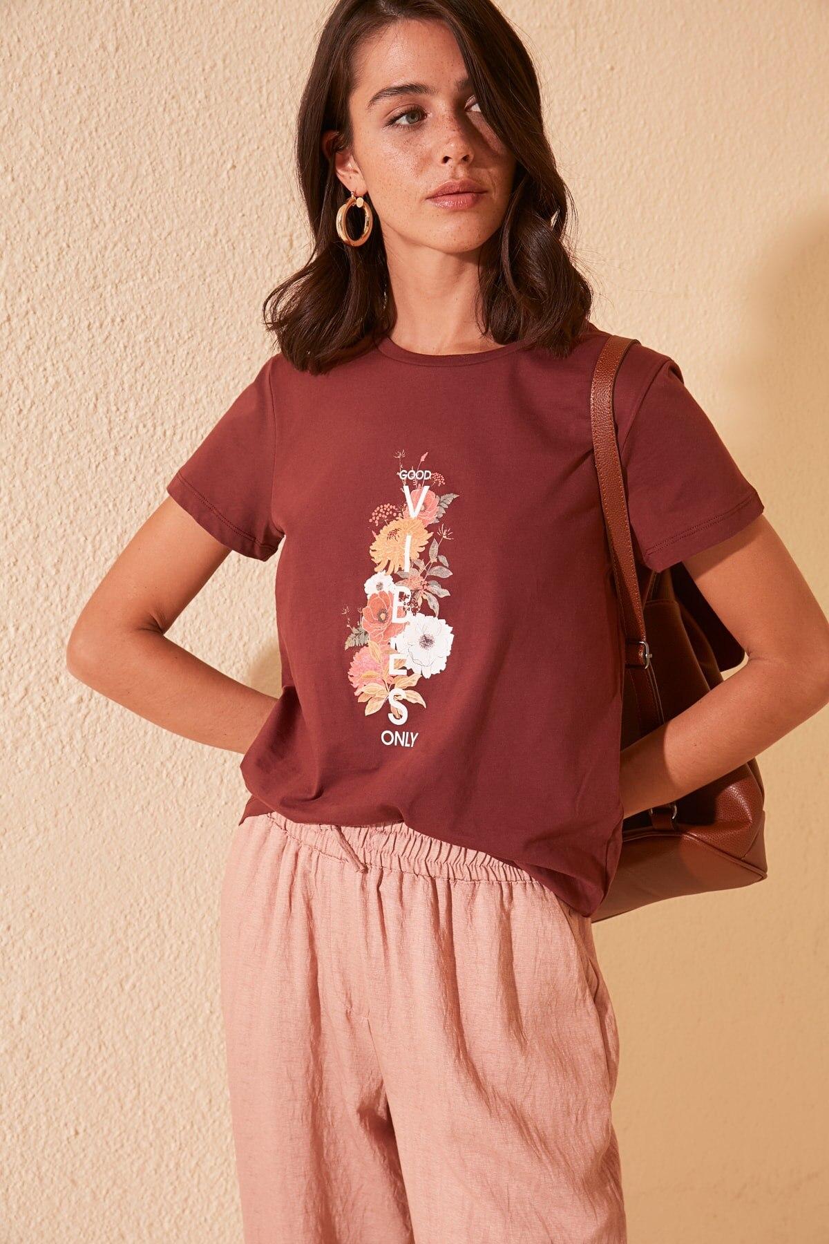 Trendyol Printed Basic Knitted T-Shirt TWOSS20TS0440
