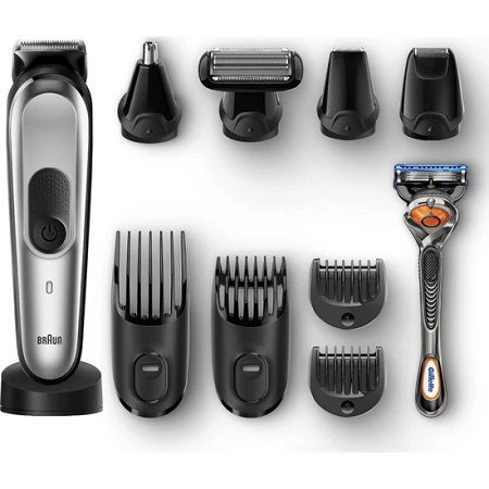Braun MGK 7020 Male Grooming Kit AutoSense Technology Steel Hood Silver & Black Wireless Wet & Dry 10in1 Styler + Gillette Gift
