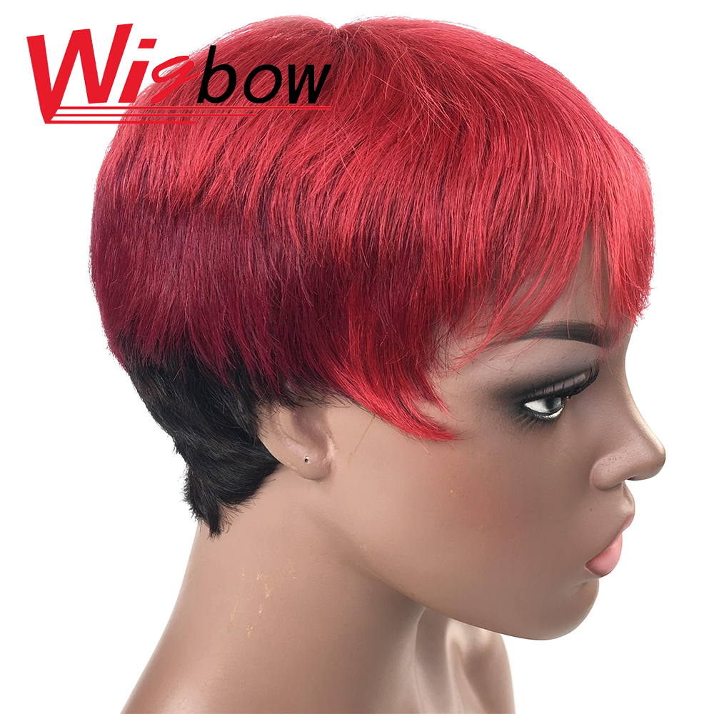Colorful Wig In Straight Cut Style With Peruvian Human Hair Wigs Blonde Red Non-remy Hair Wig 150% Short Wig For Black Women