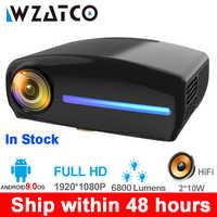WZATCO C2 1920*1080P Full HD 50 grados Digital keystone LED Proyector android 9,0 Wifi opcional portátil Proyector de Casa Beamer