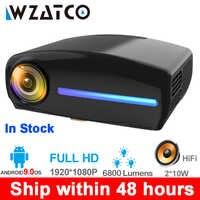 WZATCO C2 1920*1080P Full HD 50 градусов цифровой светодиодный проектор keystone android 9,0 Wifi опционально портативный домашний проектор