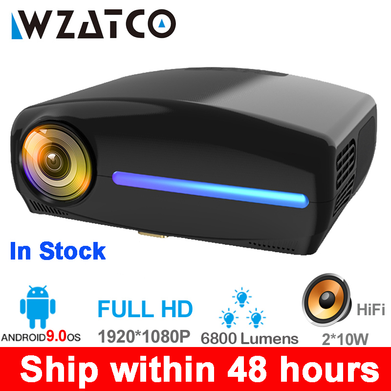 WZATCO C2 1920*1080P Full HD 200inch AC3 4D keystone LED Projector android 9.0 Wifi Portable 4K Home theater Beamer Proyector(China)