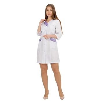 Female medical robe ivuniforma wave white with сиреневыми inserts female medical robe ivuniforma olesya white with лиловыми inserts