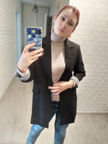 HanOrange Single One Button Autumn 2017 Slim Women Long Blazer Jacket Gray/Green/Black 3XL Plus Size reviews №2 295430