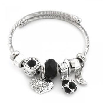 Pandora Black Beaded Heart Figured Zircon Steel Silver Color Bracelet Vintage jewelry for women Pandora bracelet