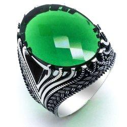 925 пробы Серебряное зеленое циркониевое мужское кольцо