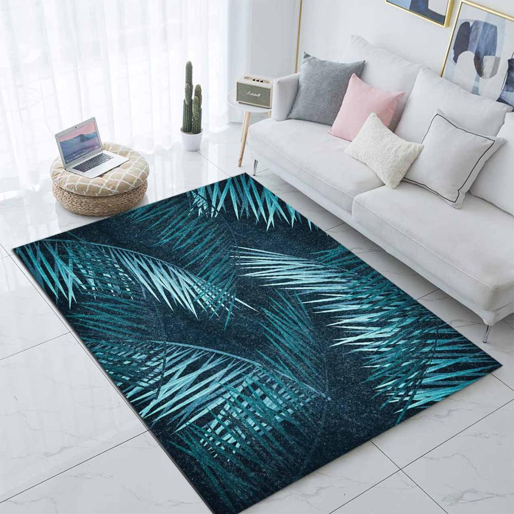 Else Blue Green Palm Leaves Nordec Scandinavian 3d Print Non Slip Microfiber Living Room Decorative Modern Washable Area Rug Mat