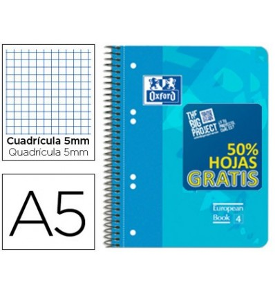NOTEPAD SPIRAL OXFORD PLASTIC CAP OPTIK PAPER MICROPERFORATED DIN A5 120 H 50% SHEETS SHIPPING PLAID 5 MM