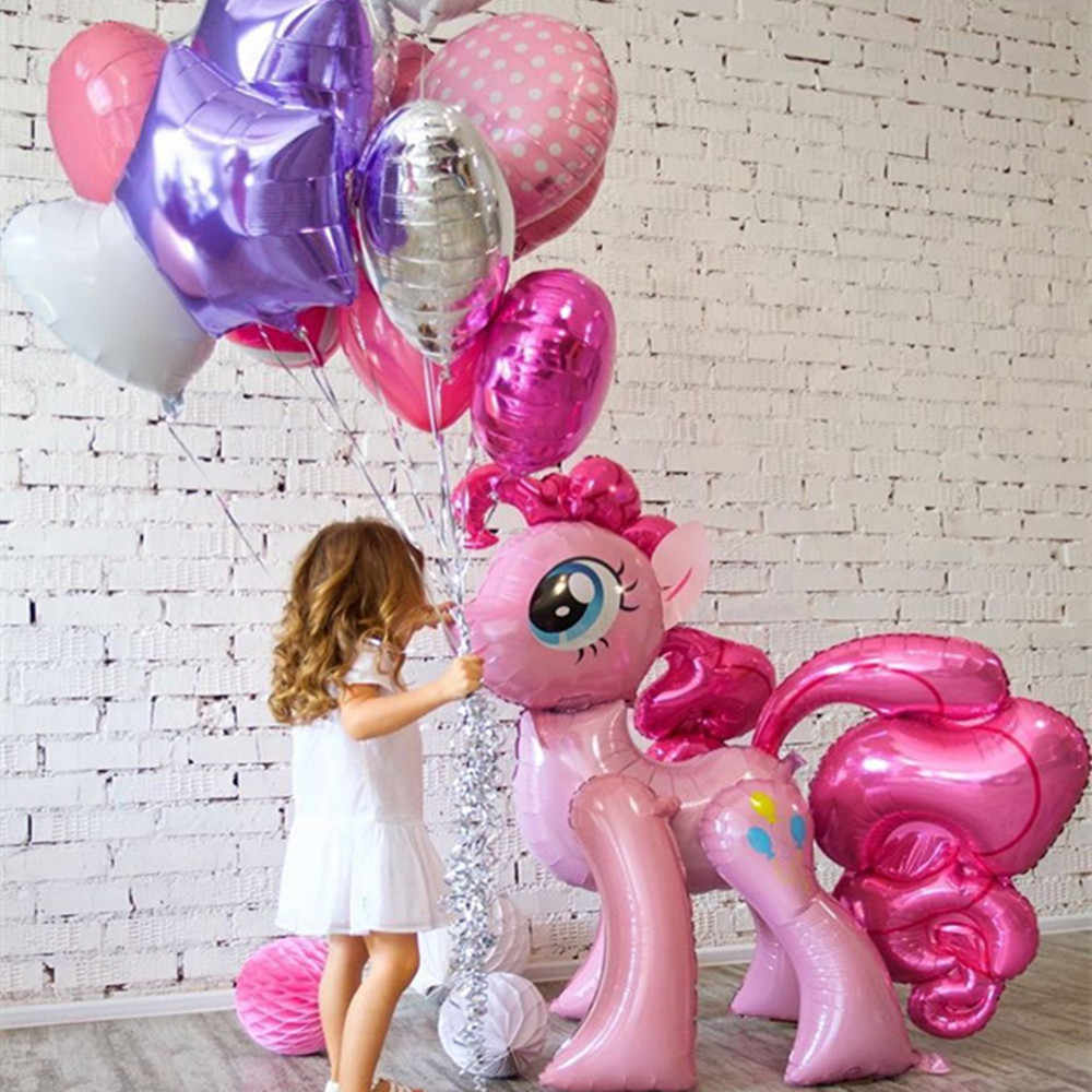 1 قطعة 100*97 سنتيمتر الوردي الحصان ليتل المهر يونيكورن احباط البالونات بالون مملوء بالهليوم لعب الاطفال الزفاف عيد الحيوانية حزب ديكور لوازم