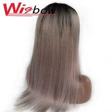 16 Polegada perucas cinzentas retas brasileiras para as mulheres 4*4 fechamento suíço do laço perucas de cabelo humano colorido t1b perucas de cabelo humano cinzento