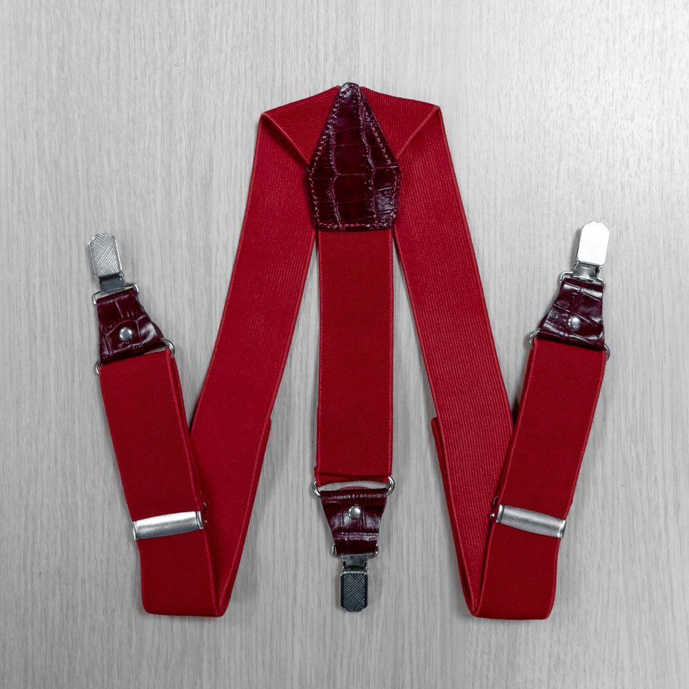 Suspenders For Trousers Wide, Genuine Leather (3.5 Cm, 3 Clips, Red) 54745