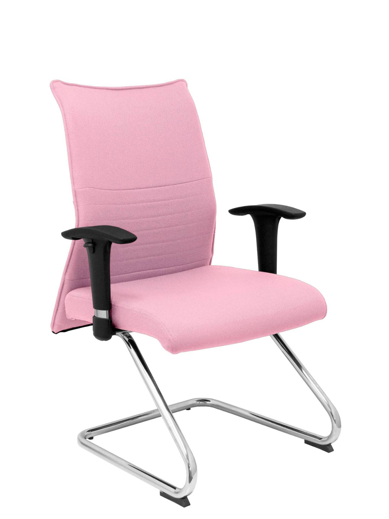 Armchair Confidante Ergonomic For Visits With Skate Chrome Up Seat And Backstop Upholstered In BALI Tissue Pink Colour P