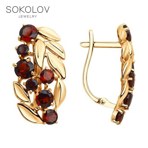 SOKOLOV Drop Earrings With Stones With Stones With Stones With Stones With Stones With Stones With Stones With Stones With Stones With Stones With Stones With Stones Of Gold With Garnets Fashion Jewelry 585 Women's Male