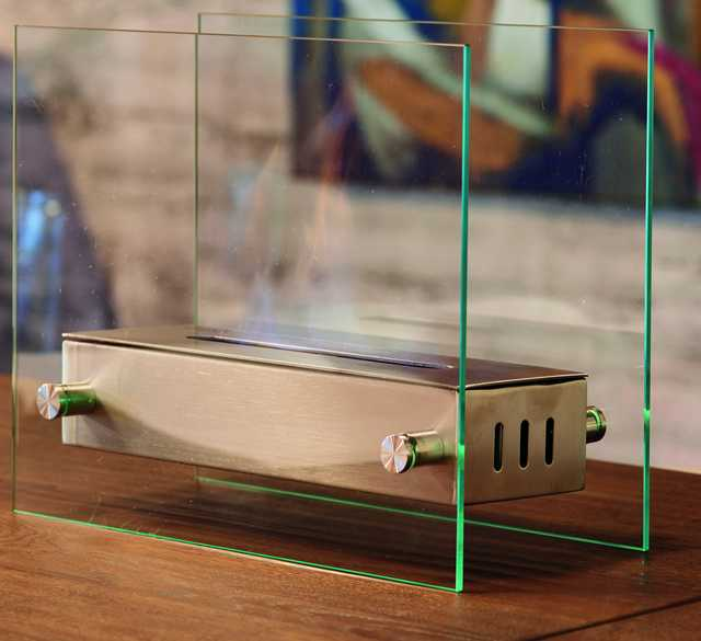 Fireplace Bioethanol From Table Bolzano-Steel And Glass-Elegant And Decorative. Indoor. Thermal, No Installation, No Smoke