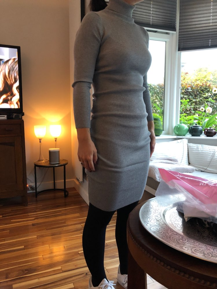 Autumn Winter Women Knitted Dress Turtleneck Sweater Dresses Lady Slim Bodycon Long Sleeve Bottoming Dress Vestidos photo review