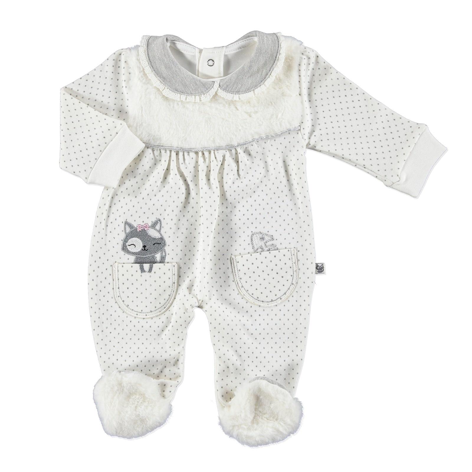 Ebebek Mymio Kitty Girl Peter Pan Collar Baby Footed Romper