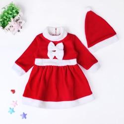 아기 소년 소녀 의류 세트 겨울 어린이 크리스마스 의상 2018 새로운 빨간 드레스 + 빨간 모자 2 pcs 따뜻한 옷을 설정