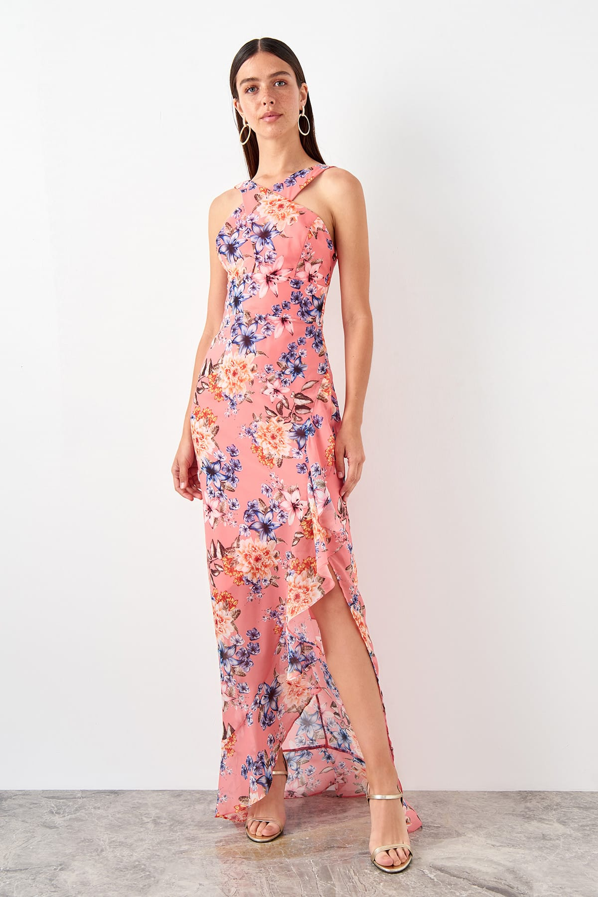 Trendyol Flower Pattern Evening Dress TPRSS19BB0509
