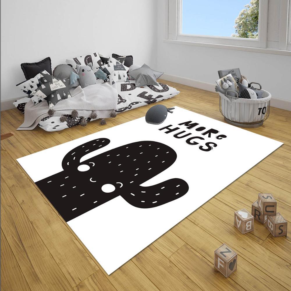 Else Black White Cute Cactus Hughs Nordec Unisex 3d Print Non Slip Microfiber Children Baby Kids Room Decorative Area Rug Mat