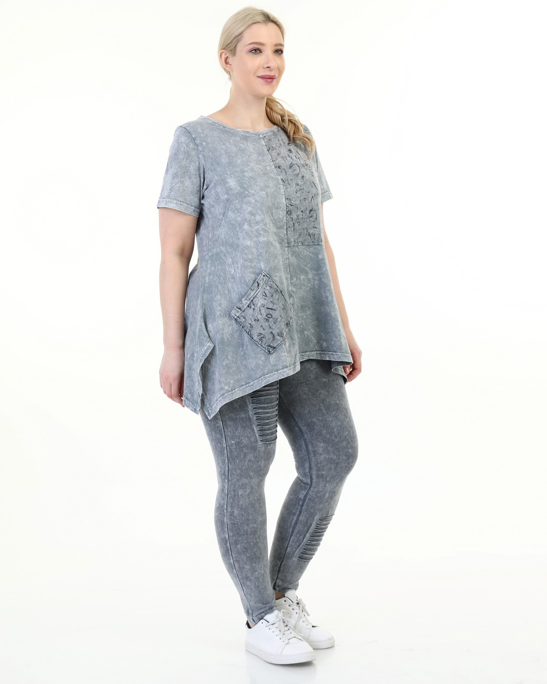 Diaves Women Summer Fashion Plus Size Self-Effect Acid-Flushing Ripped Casual Track Suit Sets Turkish Quality