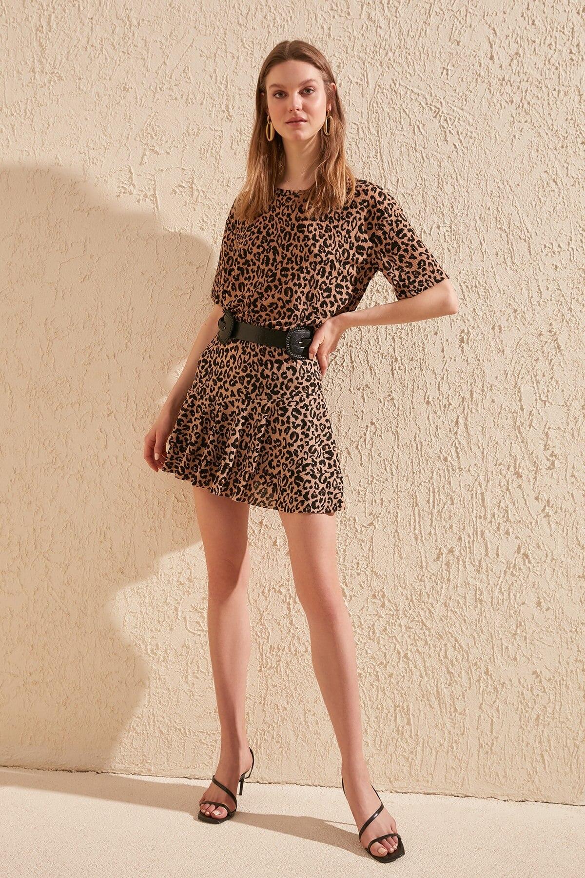 Trendyol Leopard Print Knitted Skirt TWOSS20ET0206