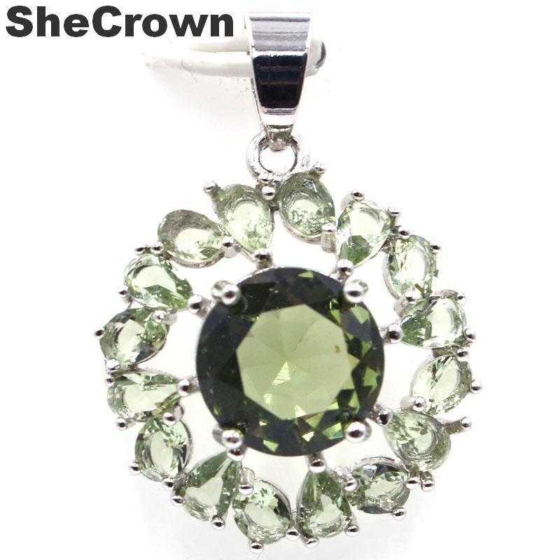28x16mm Classic Star Shape Created Green Amethyst Ladies Silver Pendant