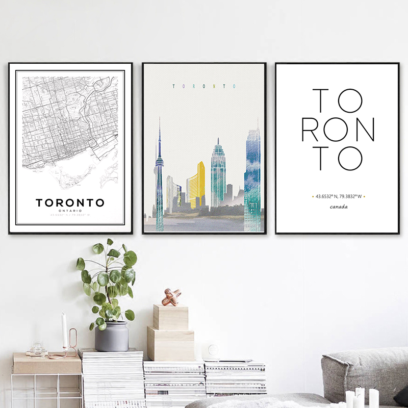 Торонто Онтарио карта печать постер путешествия Канада город координаты типография Настенная картина холст живопись современный домашний...