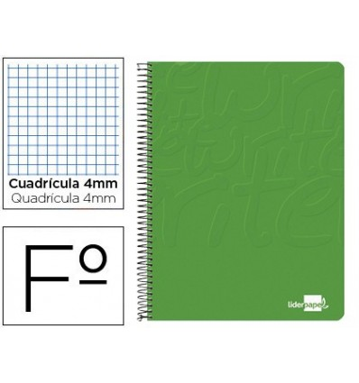 SPIRAL NOTEBOOK LEADERPAPER FOLIO WRITE SOFTCOVER 80H 60GR FRAME 4MM MARGIN GREEN COLOR